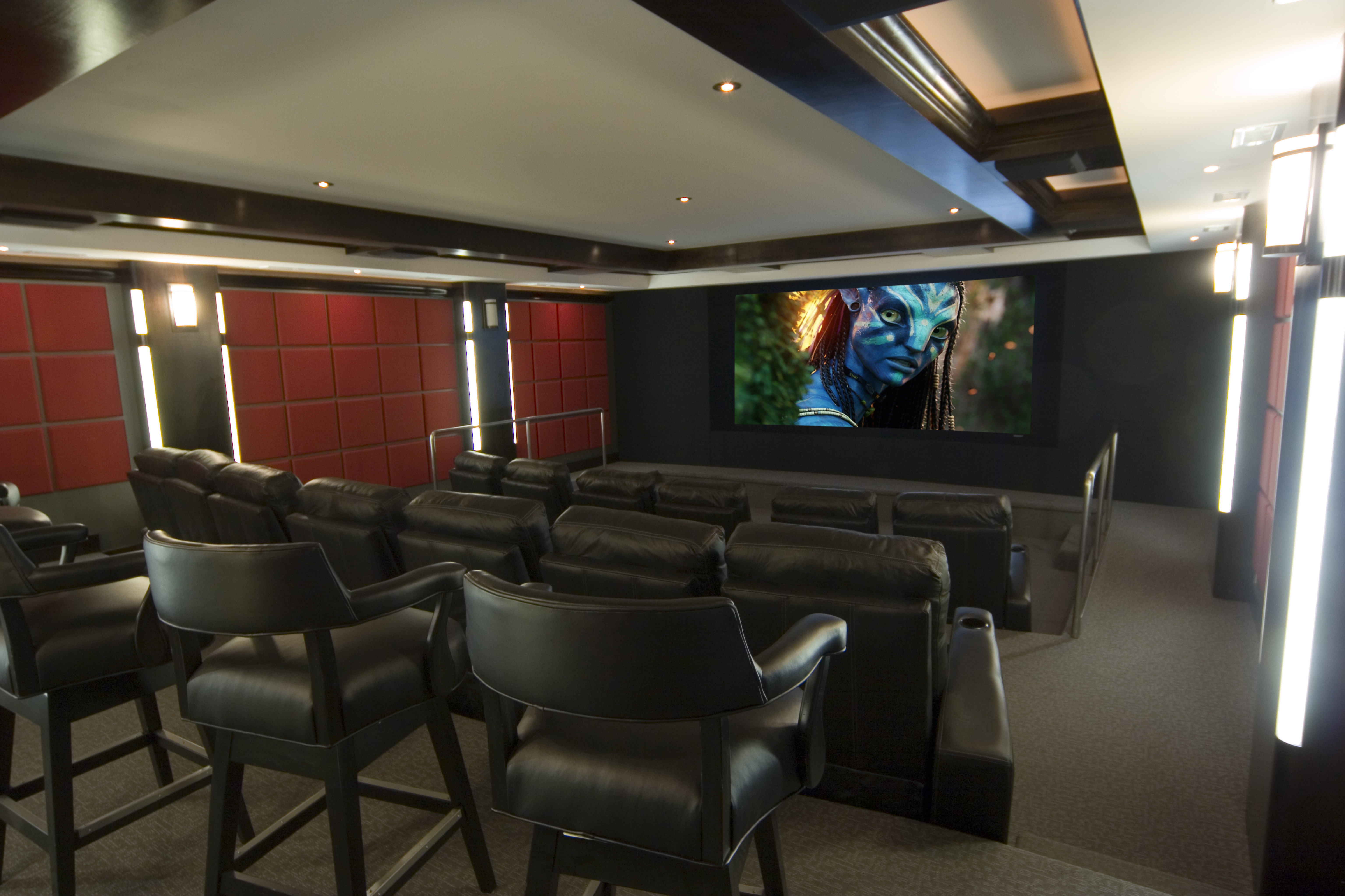 Contemporary Theater With Curved Screen Gramophone