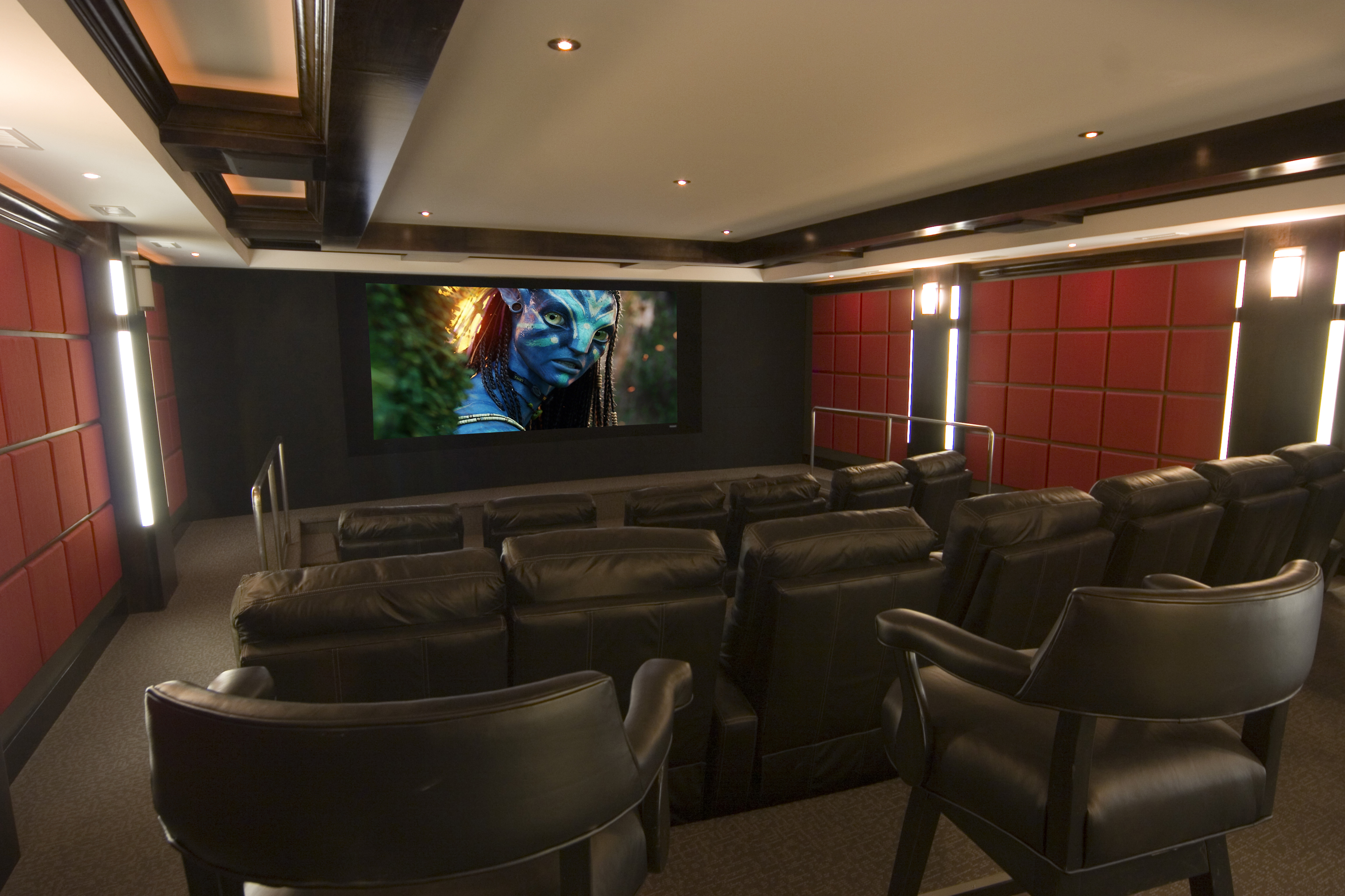 Contemporary theater with curved screen gramophone for Modern theater room
